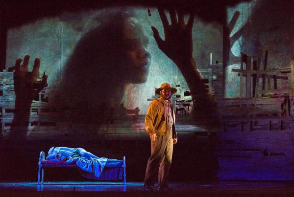 Don Bemrose (Bob Crab) & Spirit Girl projection Natasha Wanganeen - Cloudstreet State Opera South Australia